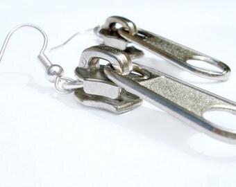 SALE Women Earrings Zipper Silver