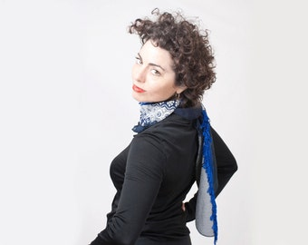 Woman Upcycled Blue Navy Scarf