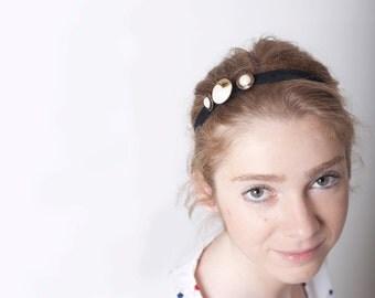 Black Headband Women Buttons Golden Velvet