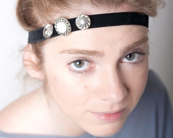 Women Headband Black Velvet Silver Buttons Hairband