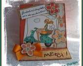 PARIS TOUR on vespa  Digital Stamp Art