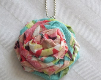 Fabric Rosette Necklace Amy Butler Fabric