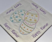 Happy Easter Candle Mat - Easter Table Topper - Easter Eggs Table Mat - Spring Flowers - Easter Colors Plaid - Hand Embroidery - Home Decor