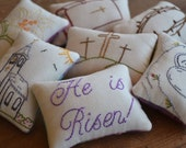 Easter Decorative Pillows - He is Risen Bowl Fillers - Religious Bible Tucks - Three Crosses - Easter Lily - Church - Crown of Thorn - Plaid