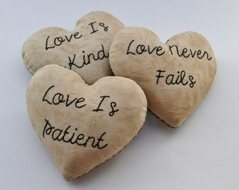 Love is Patient Love is Kind Love Never Fails Decorative Pillows - Valentines Day Decor - Heart Bowl Fillers - Scripture Bible Verse Gingham