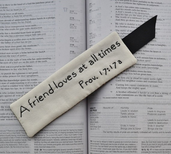 Religious Bookmark - Bible Verse - Scripture - A friend loves at all times - Proverbs 17 - Hand Stitched - Black - Gingham