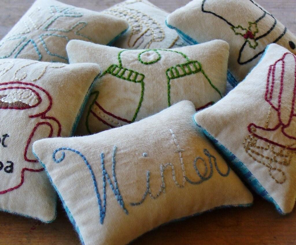 Decorative Primitive Pillows : Winter Decorative Pillows Primitive Bowl Fillers Blue