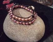 Pearl Leather Wrap bracelet (double)