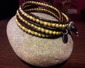 14K Gold Vermeil Leather Wrap Bracelet Triple- wrap