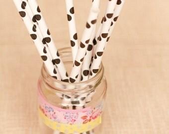 15 Cannucce a pois neri - 15 Black Polka Dot Paper Straws