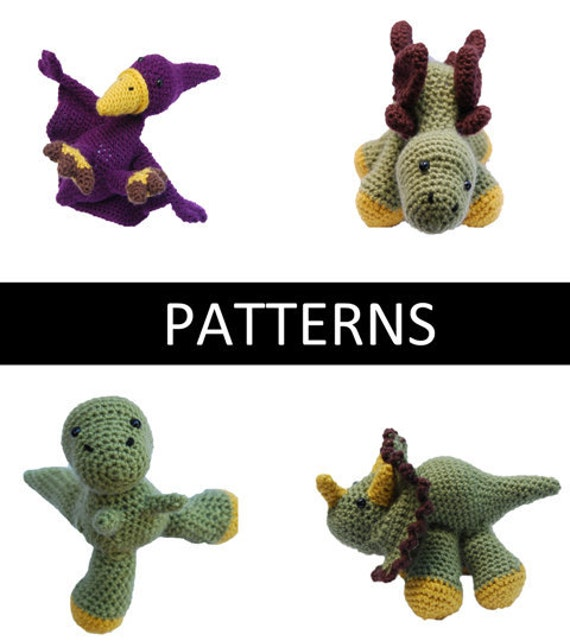FLASH SALE 50% off - Set of 4 - Dinosaur Amigurumi Crochet Patterns - PDF File