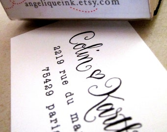 Custom Calligraphy Return Address Stamp -- Handwritten Calligraphy Wedding Stamp - Saison Paris Style with heart - Self-inking or Wood