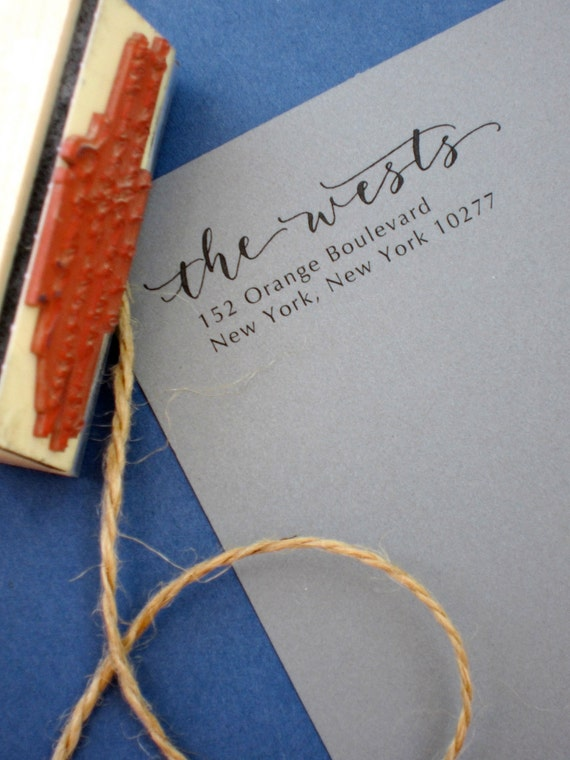 Custom Handwritten Calligraphy Address Stamp -- Mixed Calligraphy and type - Moderne Style
