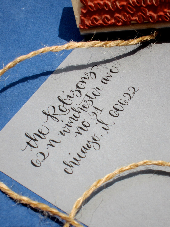 Return Address Stamp Custom Calligraphy Personalized