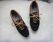 vintage navy KEDS with brown leather trim