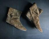 vintage Mootsies Tootsies brown suede slouched booties