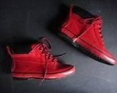 vintage shiny red Sporto lace up rain booties