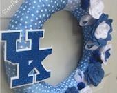 "University of Kentucky Wreath UK Blue White Polkadot Ribbon Fall Rose Style Felt Flower 12"""