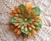 Hand Stamped Flower Hair Clip - Summertime - Shabby Chic - Hair Embellishment - Hair Couture - Altered Hair Art