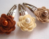Wool Felted Rosettes Hair Flowers - Snap Hair Clips - Set of 3 - Hair Accessories