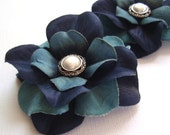 Shades of Blue Layered Hydrangea Flower Hair Clips - Pearl & Silver Button Center - Set of 2 - Hair Accessories