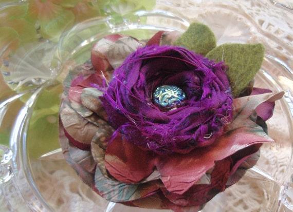Flower Pin Hair Clip Brooch -  Victorian Garden Greens - Layered Hair Clip/Corsage Pin -  Sari Silk Rosette