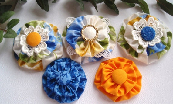 Fabric Flower Appliques  Floral Cottage Shabby Chic - Set of 5