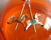 Vintage Carousel Merry Go Round County Fair Horse Pony Earrings