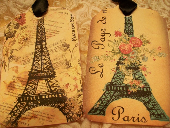 Eiffel Tower Collage Tags( Set Of 6 ) TG 002