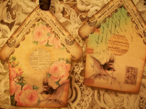 Newspaper Bird House Tags  ( Set of 4 )  TG 020