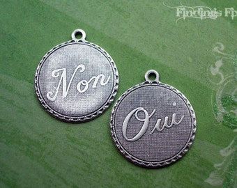 6X - oxidized sterling silver plated brass oui and non french charms