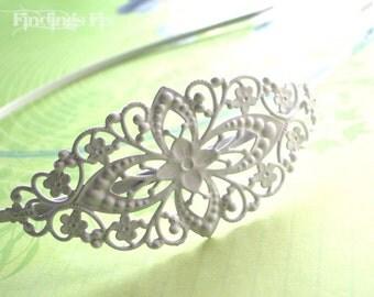 2X - white enamel asymmetrical victorian filigree headband blank