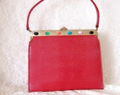 Vintage Purse Red with colorful stones