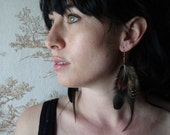 Neo-victorian feather earrings in shades of black, golds, and browns with copper wire and glass beads