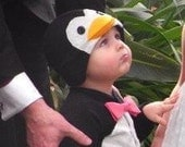 Last one - ON SALE: 3-6m Penguin Suit - Tuxedo Baby Costume with Hat - Halloween