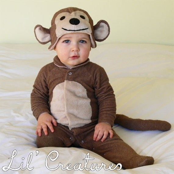 Monkey Baby Onesie Costume With Hat Lil Creatures
