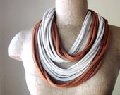 Scarf Necklace - Eco Friendly Jersey Cotton Fabric Necklace - Upcycled Burnt Orange, Straw T Shirt Scarf