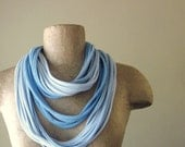 STANDARD cotton scarf necklace in shades of pale blue jersey