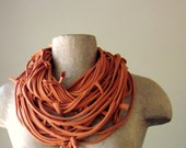 Shag Scarf Necklace - Eco Friendly Burnt Orange Jersey Cotton Fabric Necklace - Upcycled