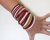 STRANDS fabric bracelets in brown, red, camel and white cotton jersey - by EcoShag