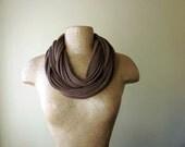 STANDARD cotton scarf necklace milk chocolate brown jersey - by EcoShag