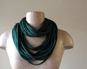 KNOTS cotton scarf necklace in forest green upcycled jersey - by EcoShag