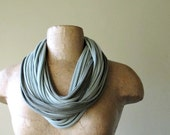 STANDARD cotton scarf necklace in shades of olive and sage green jersey -by EcoShag