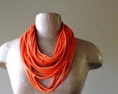 Orange Infinity Scarf Necklace - Upcycled Statement T shirt Scarf - Eco Friendly