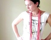 Lightweight Skinny Scarf - Coral Pink Jersey Cotton Fabric Necklace - Upcycled TShirt Scarf