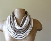 STANDARD scarf necklace in taupe, tan, straw and cream cotton jersey - by EcoShag