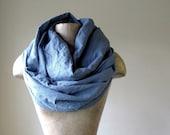 Long Linen Scarf - Slate Blue Eco Friendly Linen - Oversized Chunky Scarves
