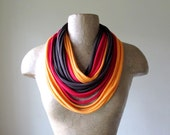 STANDARD scarf necklace in red, brown and orange cream cotton jersey - by EcoShag