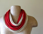 Infinity Scarf Necklace - Eco Friendly Red and Wheat Cotton Jersey - Upcycled T Shirt Scarf