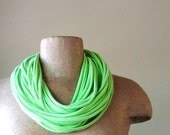 Neon Green Scarf Necklace - Eco Friendly Cotton Jersey Infinity Scarf - Lime Green T shirt Scarf